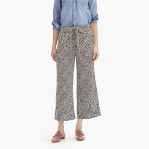 J Crew Leopard Silk Pants Wideleg Cropped S